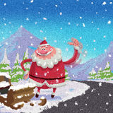 Die gebrochene Karikatur-Santa Claus-Hitchhikestraßenseite luge Unfall Co Lizenzfreie Stockfotos