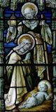 Die Geburt Christis-Geburt von Jesus im Buntglas lizenzfreie stockfotos
