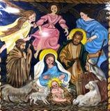 Die Geburt Christis-Malerei auf Stoff lizenzfreie stockfotos