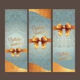 die Geburtstags- und Einladungskarte mit colorbackground Vektor entwerfen Stockbild