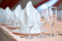 Die gediente Tabelle vor einem Feiertag an der Gaststätte Stockbild