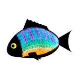 Die gefärbten Fische silhouettieren auf weißem Hintergrund Lizenzfreie Abbildung