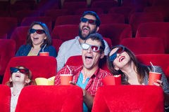 Die Gefühle der Leute im Kino Stockbilder