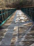 Die gefrorene Brücke, die in das Holz führt Lizenzfreies Stockbild