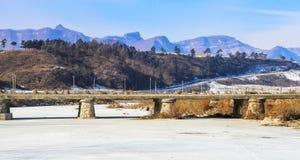 Die gefrorene Flussbrücke Stockfotografie