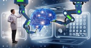 Die Gehirnchirurgie erfolgt durch Roboterarm lizenzfreie stockfotos