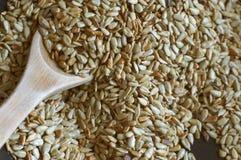 Die gekochten Samen auf der Wanne Hölzerner Löffel Stockbild