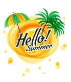 Die gelbe abstrakte Sonne mit Text - hallo Sommer Stockbilder