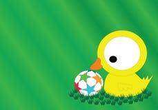 Die gelbe Ente, die Fußball auf dem Gras spielt Stockbilder