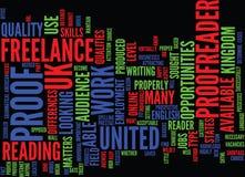 Die Gelegenheiten als freiberuflich tätiges Korrektor-In The Uk-Text-Hintergrund-Wort-Wolken-Konzept lizenzfreie abbildung