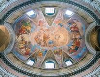 Die gemalte Wölbung mit der ` Apotheose von St- James` durch Silverio Capparoni, in der Kirche von San Giacomo in Augusta, in Rom Lizenzfreies Stockbild