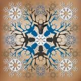 Die geometrische Schneeflocke, die vom Weihnachten gemacht wird, überfällt Ren Auch im corel abgehobenen Betrag Lizenzfreies Stockbild