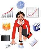 Die Geschäftsdame, die Frau bei der Arbeit, der Angestellte des Büros Stockfotografie