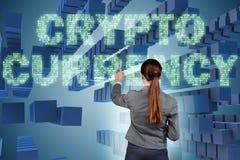 Die Geschäftsfrau in blockchain cryptocurrency Konzept Stockbilder