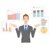 Die Geschäftsfrau, die ein Diagramm erklärt Lizenzfreies Stockfoto