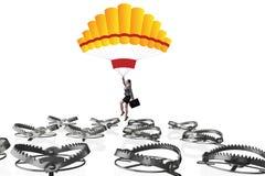 Die Geschäftsfrau, die in Falle auf Fallschirm fällt Stockfotos