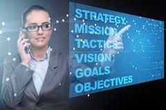 Die Geschäftsfrau im Konzept der strategischen Planung lizenzfreies stockfoto