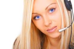 Die Geschäftsfrau mit blauen Augen Stockfotos