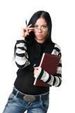 Die Geschäftsfrau mit Dokumenten Stockfoto