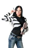 Die Geschäftsfrau mit Dokumenten Lizenzfreie Stockfotos