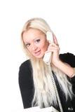 Die Geschäftsfrau mit Telefon Lizenzfreies Stockbild