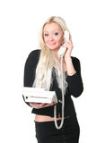Die Geschäftsfrau mit Telefon Stockfoto