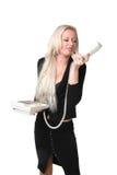Die Geschäftsfrau mit Telefon Lizenzfreies Stockfoto