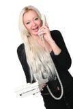 Die Geschäftsfrau mit Telefon Stockfotos