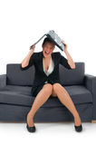 Die Geschäftsfrauarbeiten lizenzfreie stockfotografie