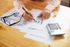 Die Geschäftsfrauhand, die auf Geschäftsdokument während zeigt, besprechen sich Stockbilder