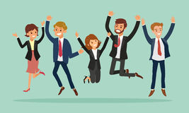 Die Geschäftsleute springend, Erfolgskarikaturillustration feiernd Lizenzfreies Stockfoto