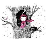Die Geschichte über ein Häschen, einen Baum, eine Höhle, ein Nest, einen Vogel und ein Herz Lizenzfreie Stockbilder