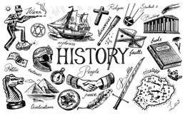 Die Geschichte von Leuten, Wissenschaft und Ausbildung, Religion und Reise, Entdeckungen und alte alte Symbole Retro- Lieferung lizenzfreie abbildung