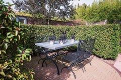 Die gesetzte Tabelle des Gartens wird mit den Blumentöpfen verziert, die mit Querstation gefüllt werden Lizenzfreie Stockfotos
