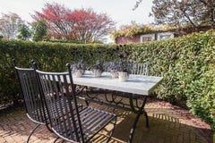 Die gesetzte Tabelle des Gartens wird mit hölzernen Blöcken verziert, in denen trocken Lizenzfreie Stockbilder