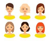 Die Gesichter der Frauen mit verschiedenen Frisuren Stockfoto