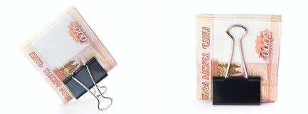 Die getrennten 5000 Rubel in einem Klipp Stockfotos