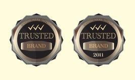 Die gewählten Verbraucher vertrauten Marken-Emblem-Zeichen-Auslegung Stockfoto
