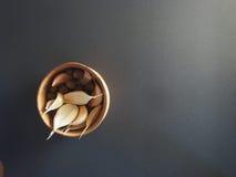 Die Gewürze - Thymian, Kreuzkümmel und Knoblauch stockfoto