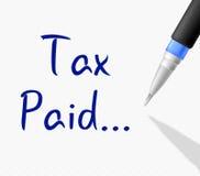 Die gezahlte Steuer zeigt Bill Receipt And Duty Stockbilder