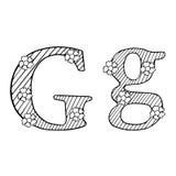 Die gezeichnete Buchstabe-Hand skizzierte Illustration Stockfoto