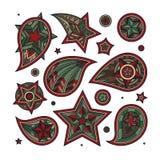Die gezeichnete Hand färbte Sternstrudel und dekorative Elemente Stock Abbildung