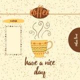 Die gezeichnete Hand haben einen schöner Tageshintergrund mit Tasse Kaffee Lizenzfreie Stockfotos