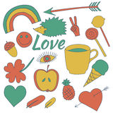 Die gezeichnete Hand kritzelt Sammlungsillustrationskaffee, Apfel, Eiscreme, Herz Lizenzfreies Stockfoto
