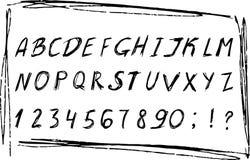 Die gezeichnete Hand skizzierte Alphabet mit Zahlen Schwarzer Schmutztintenguß Vektorabbildung EPS10 Lizenzfreie Stockfotos