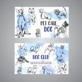 Die gezeichnete Hand verfolgt Zuchthaustierpflegevisitenkarte Skizze des Hundes Französische Bulldogge, Dachshund, Schlittenhund, Stock Abbildung