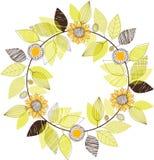 Die gezeichnete Hand verlässt und Sonnenblumen winden Vektorillustration Stockfoto