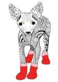 Die gezeichnete Spielzeugterrierhand skizzierte Illustration Gekritzelgraphik Stockfoto