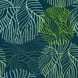 Die gezeichnete Vektorhand verlässt nahtloses Muster Stockfotos