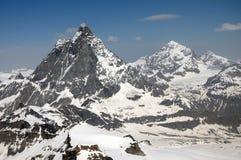 Die Gipfel des Matterhorns und der Einbuchtung Blanche stockbilder